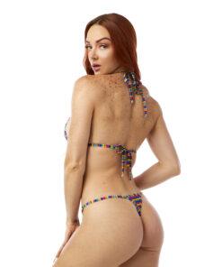 Piñata Party Micro Bikini by OH LOLA SWIMWEAR - Side Adjustable V-String Bottom