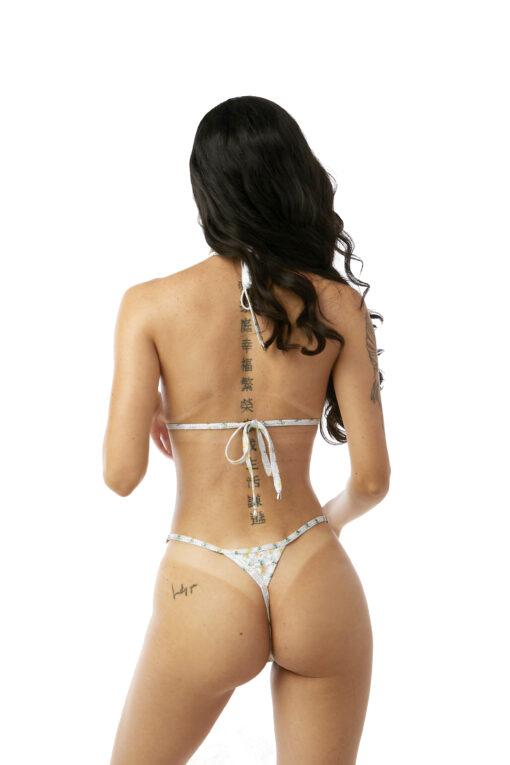 Piña Colada Micro Bikini by OH LOLA SWIMWEAR - Side Adjustable V-String Bottom