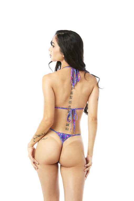 Kaleidoscope Micro Bikini by OH LOLA SWIMWEAR - Side Adjustable V-String Bottom