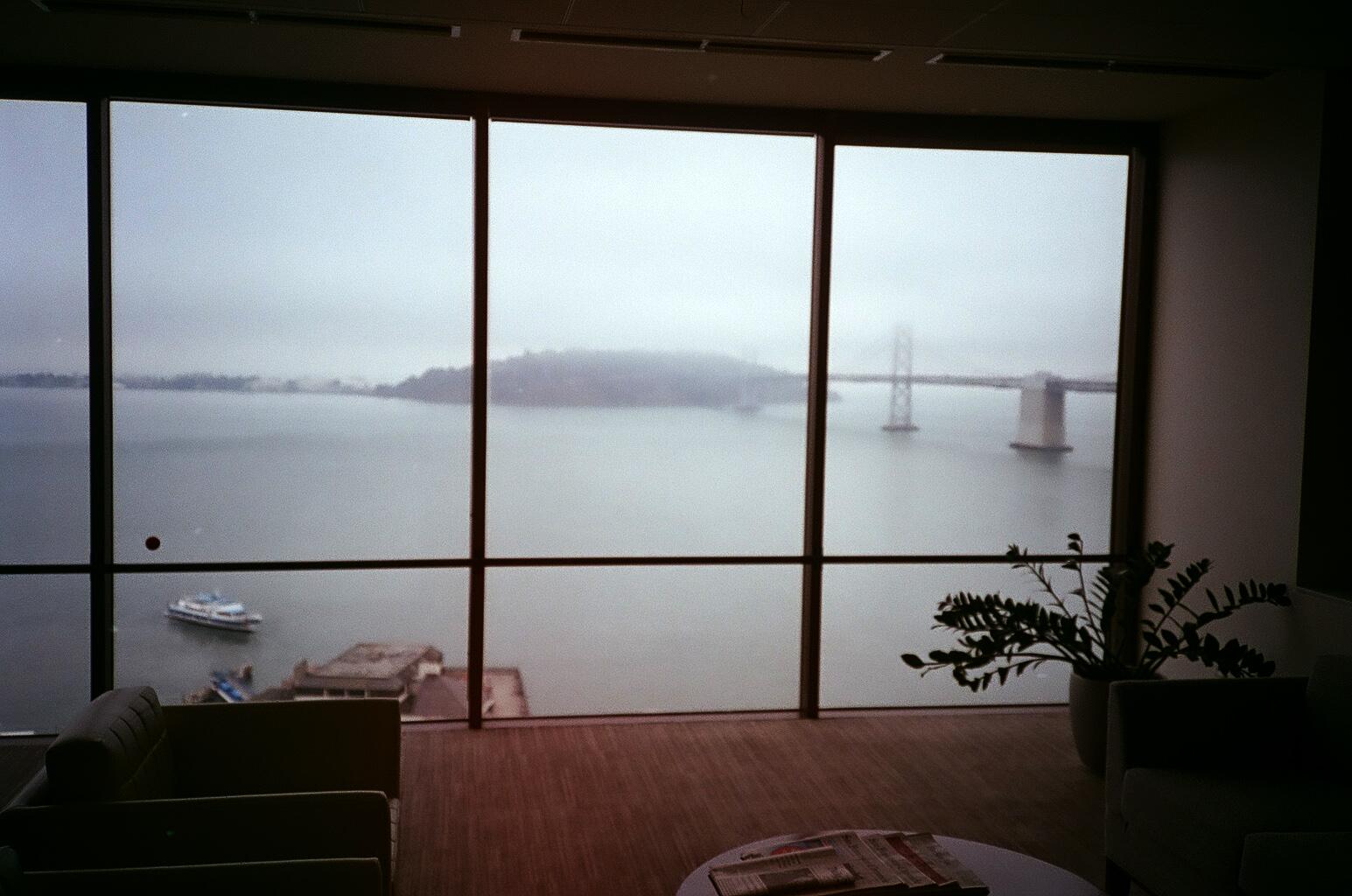 View of Bay Bridge in the fog