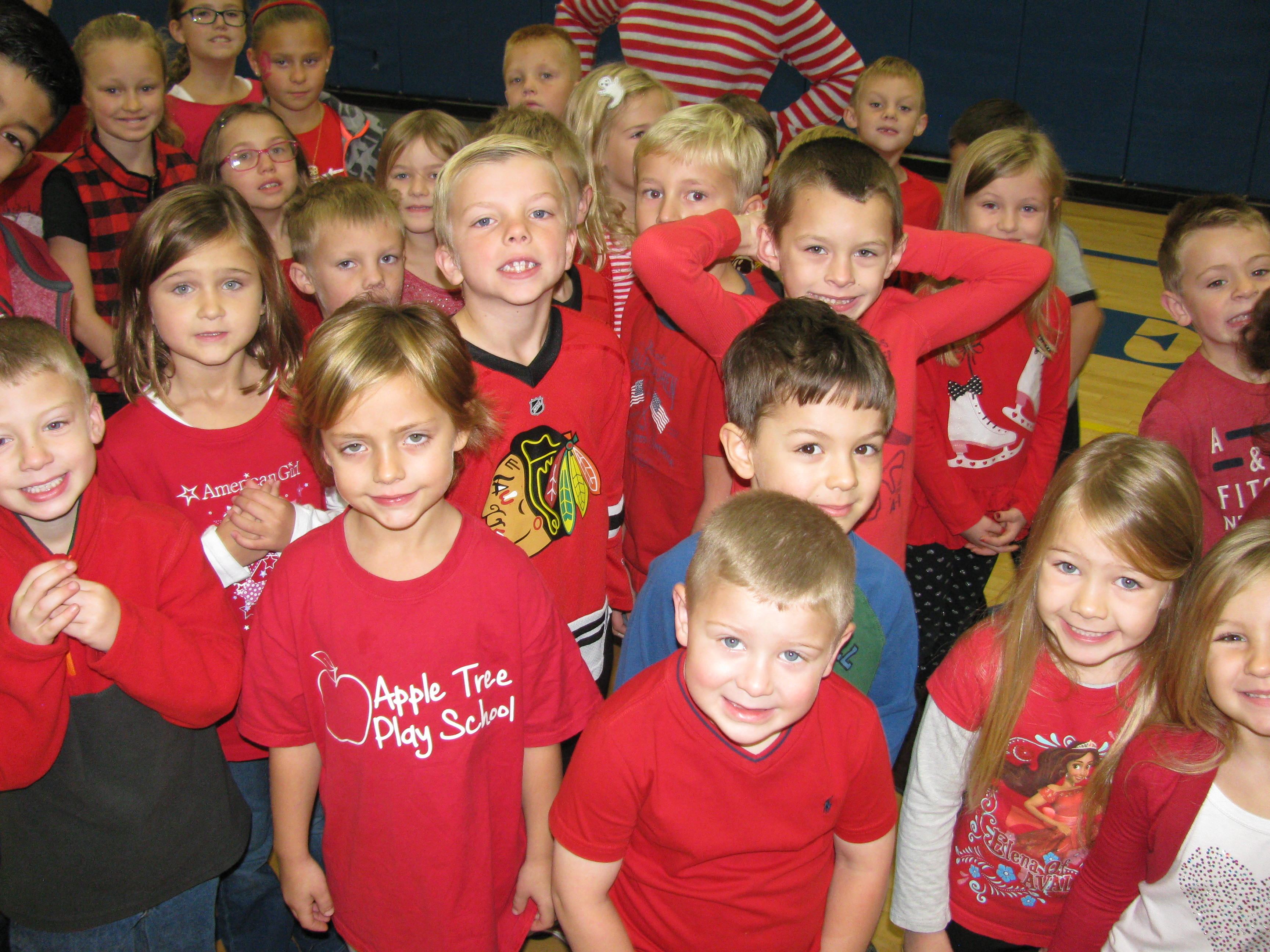 Students wearing red for Red Ribbon Week