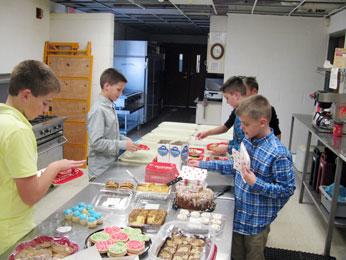 Preparing snacks for Senior Bingo