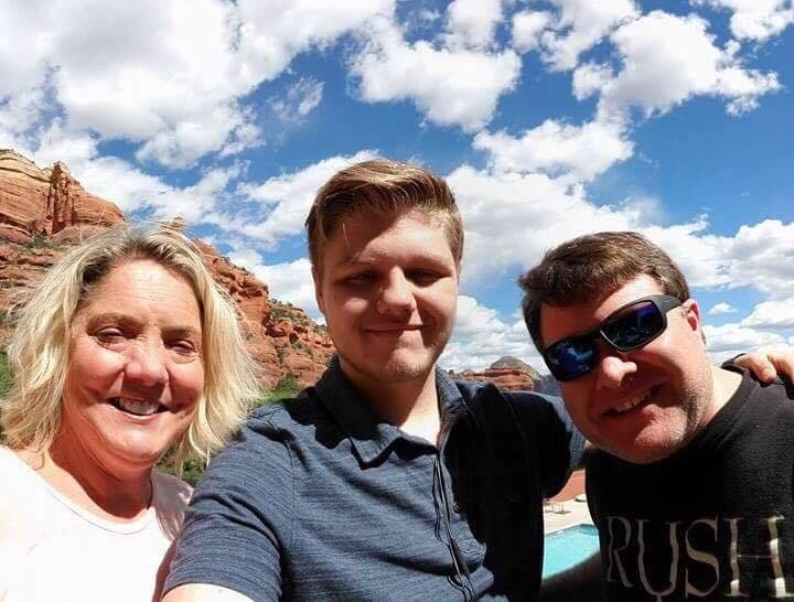 picture of sedona with cynthia and her husband and child
