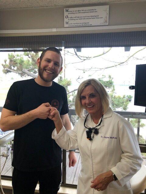 Dr. Jayne McKay with dental patient