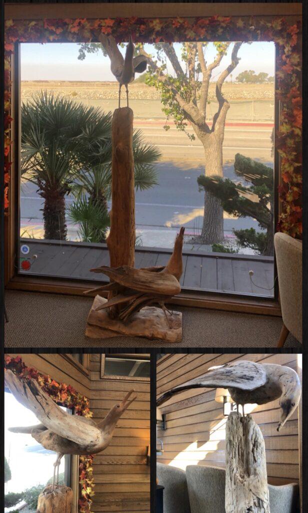 wooden sculptures of birds in dr banta's office