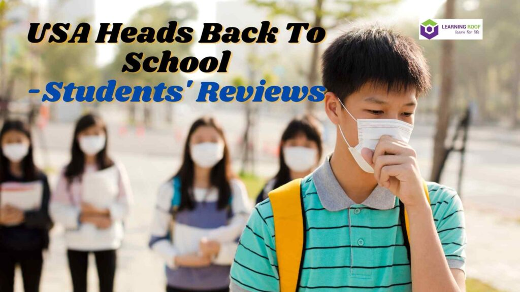 Students review on back to school in USA