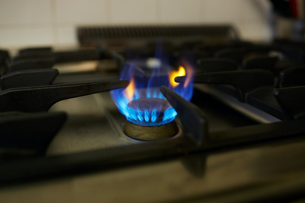 burning gas stove flame
