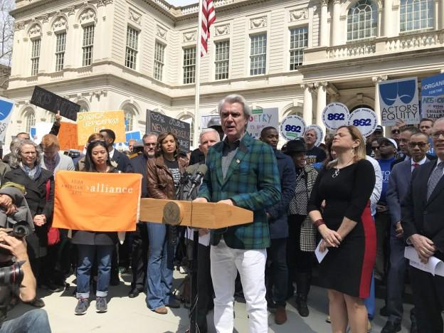 Press rally: David Byrne speaking