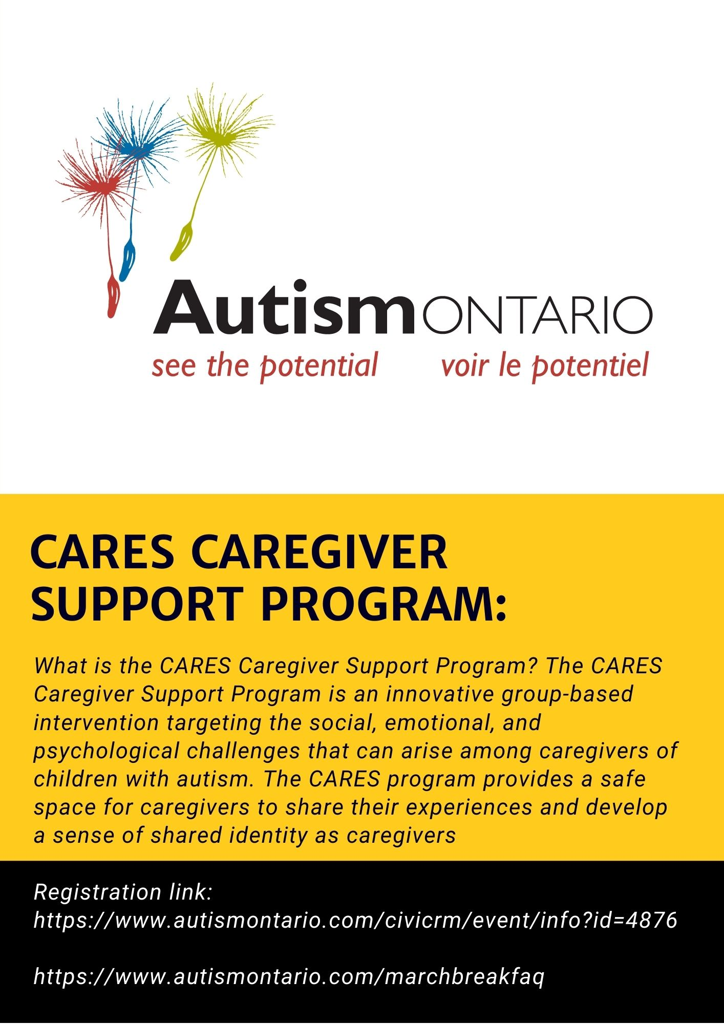 Autism Ontario Cares Caregiver Support Program Flyer