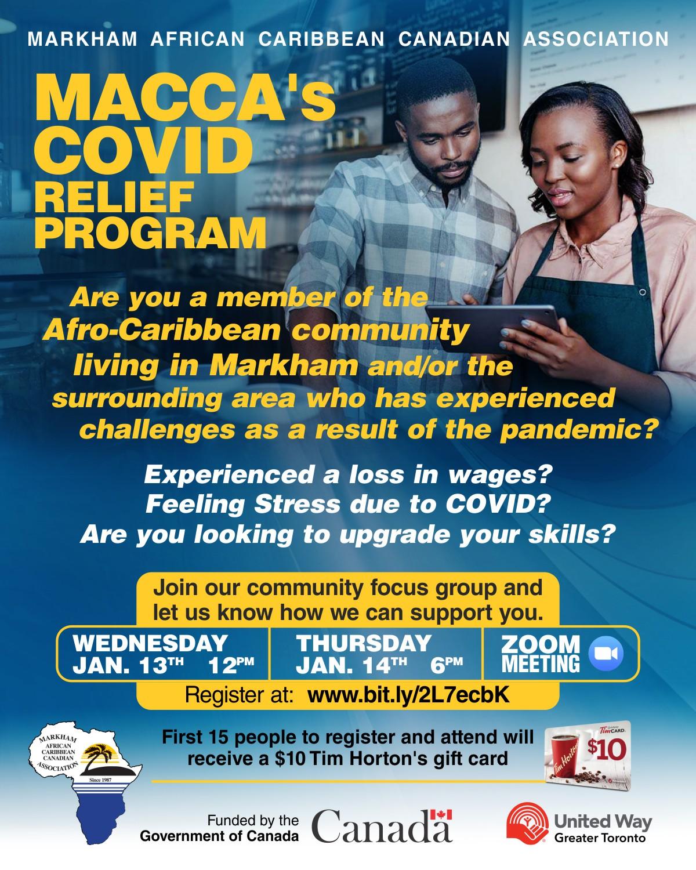 MACCA's Covid Relief Program Flyer