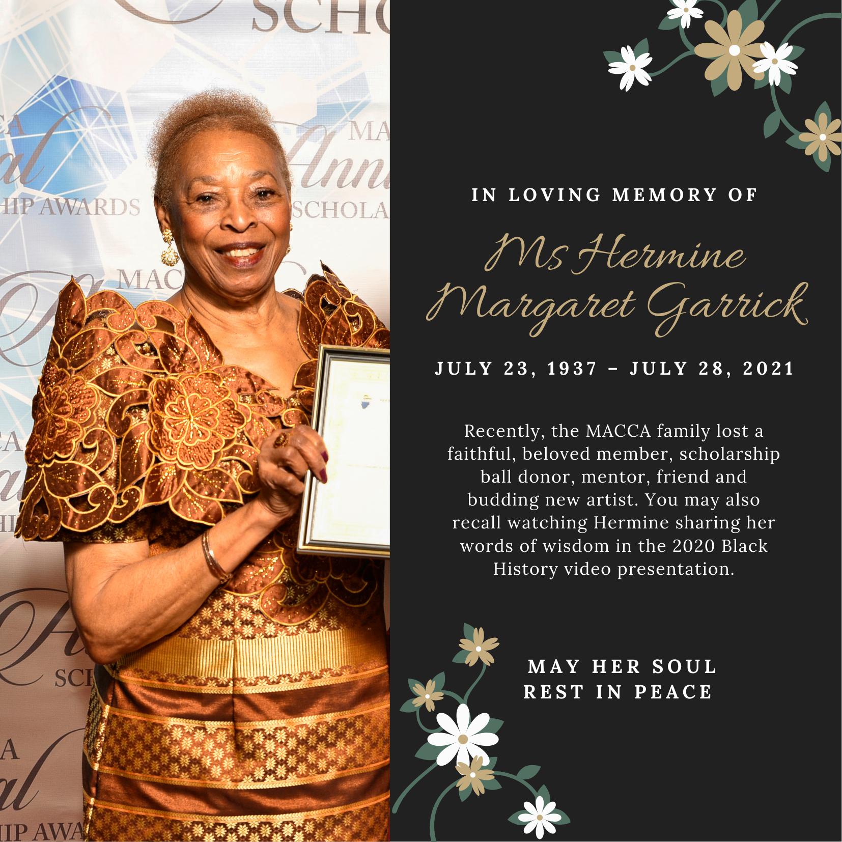 Poster for Ms Hermine Margaret Garrick memorial