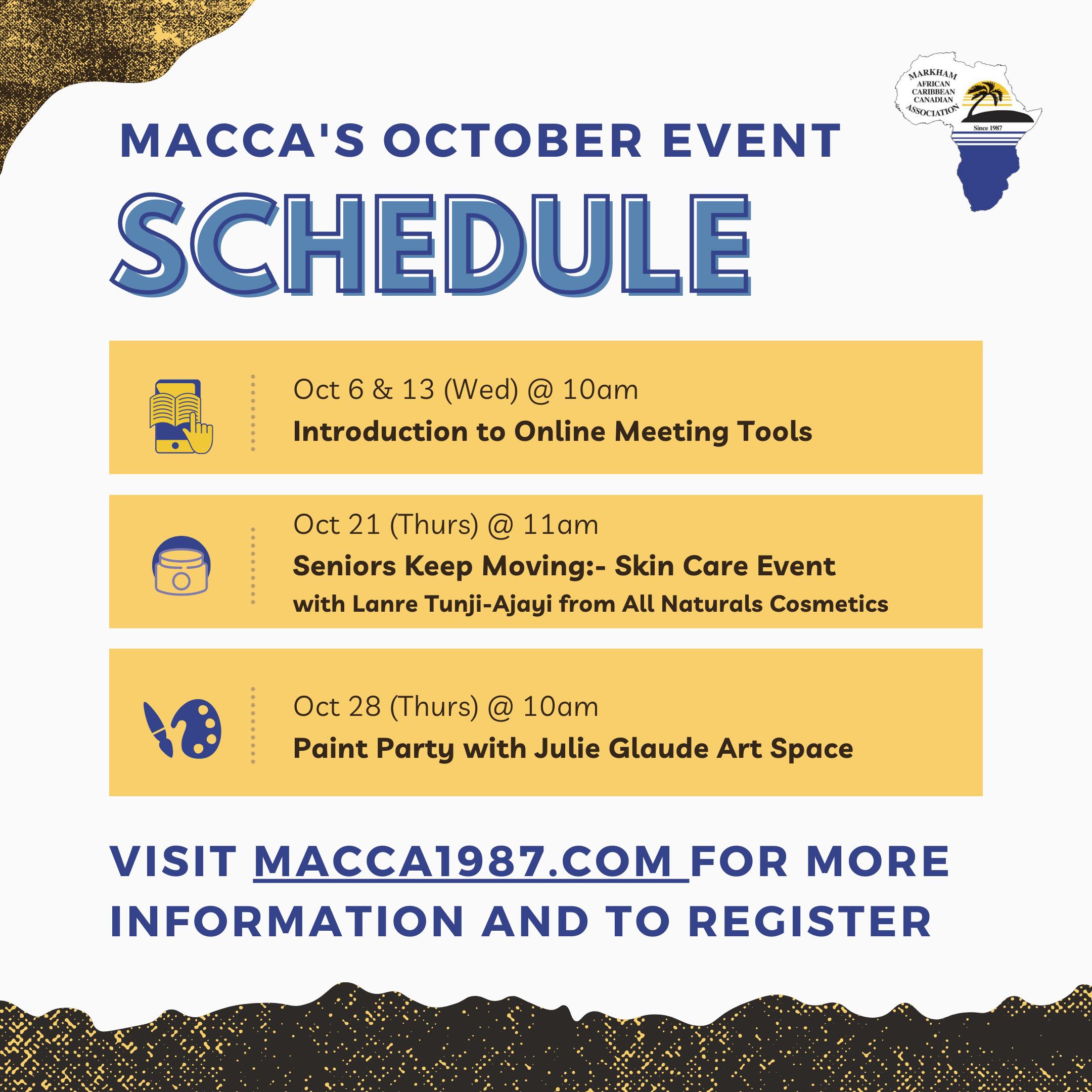 October Event schedule poster