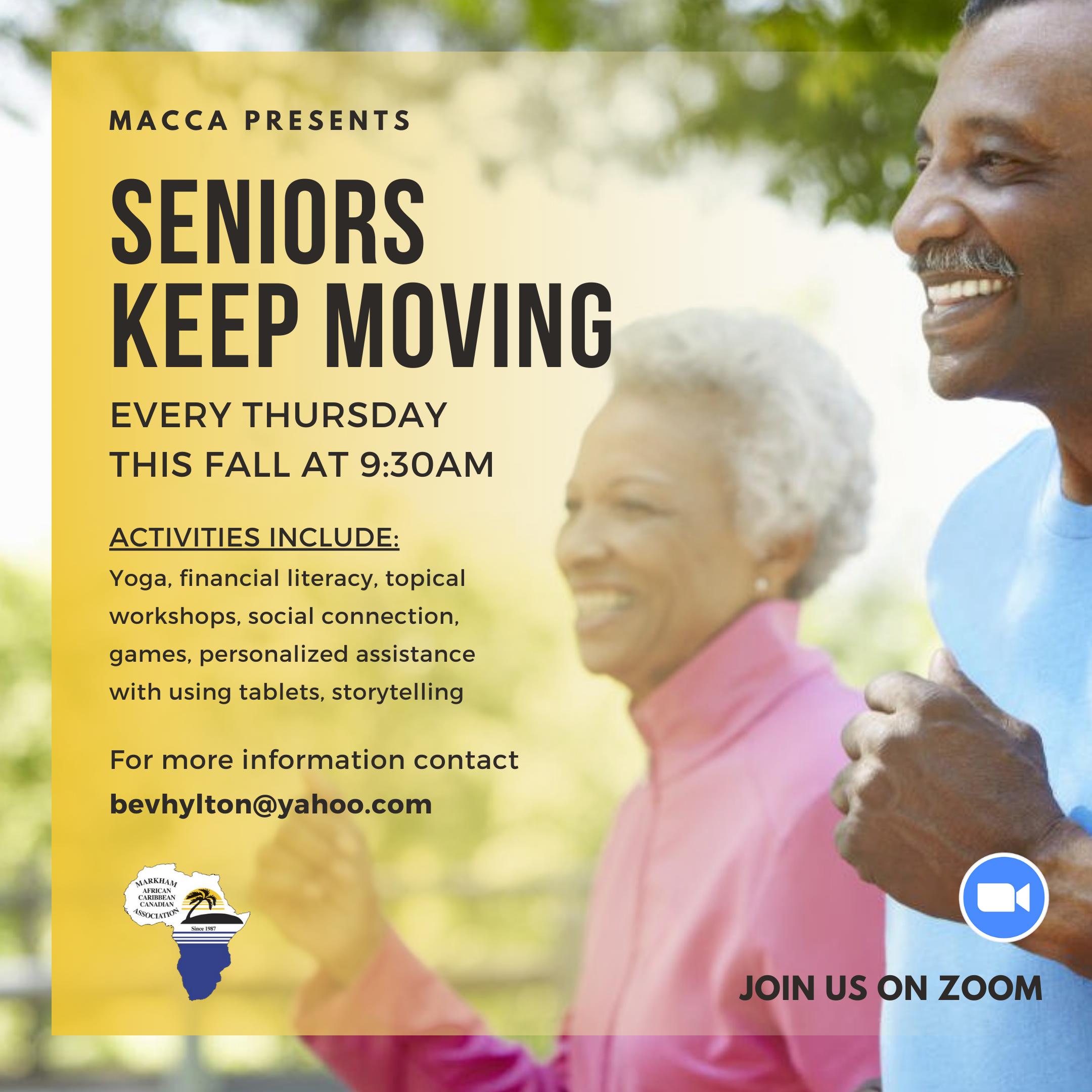 Flyer for Fall programs for Seniors Keep Moving