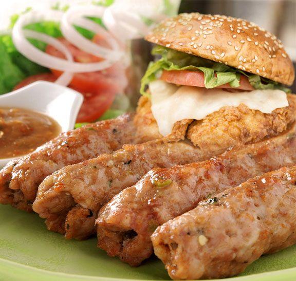 BBQ Chicken Seekh kebabs with Mega Burger & onion salad.