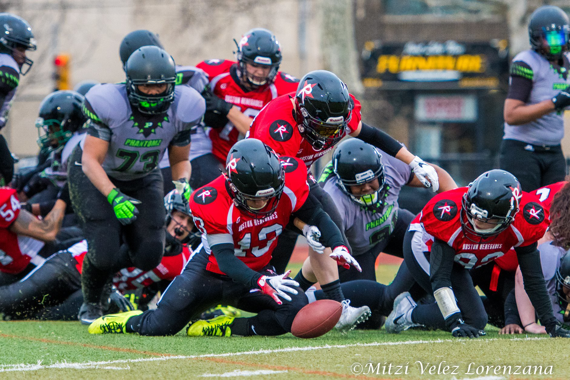 Mocha Torres of the Boston Renegades recovers a fumble