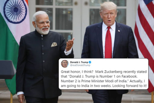 Ahead of India Visit Donald Trump says 'I'm no.1 on Facebook , PM Modi at no.2'