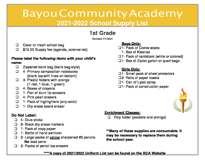 Supply List 1st Grade 2021-2022