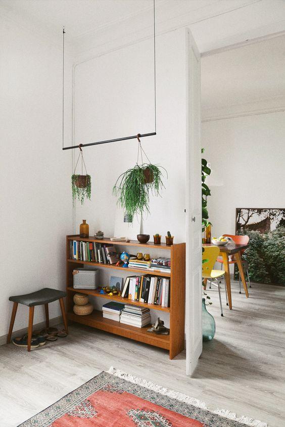 Decoración con plantas colgantes y libros