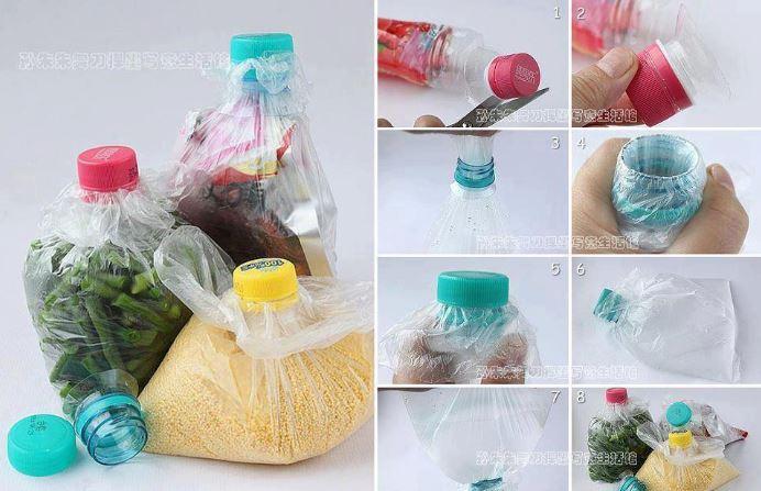 Almacena granos y productos en bolsas con picos de recipientes