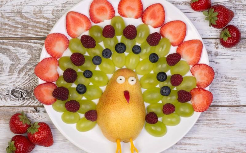 Pavo real de frutas