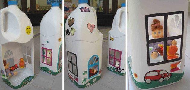 Las botellas de plástico pueden ser utilizadas como casa de muñecas