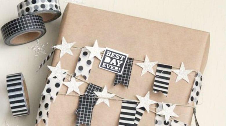Utiliza cinta adhesiva decorada para hacer banderines