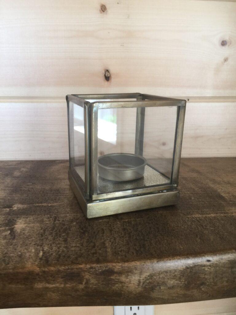 Brass candle tea light holder: $3