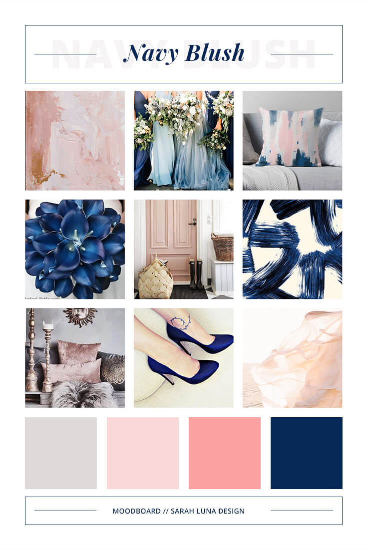 Navy Blush Pink Moodboard