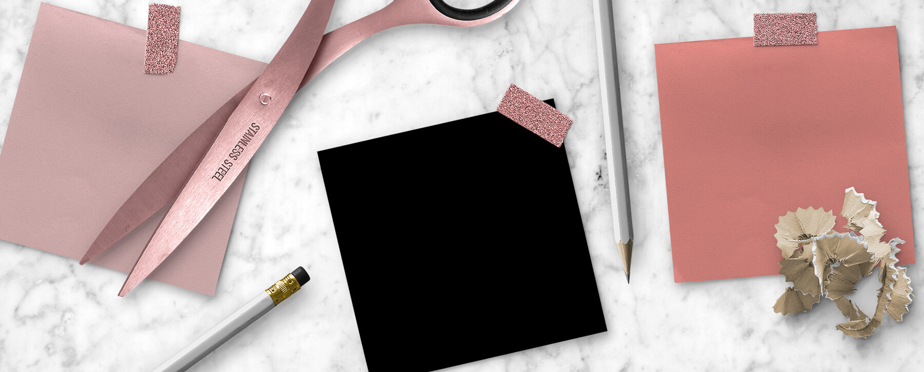 Blush Pink, Rose Gold, Black moodboard