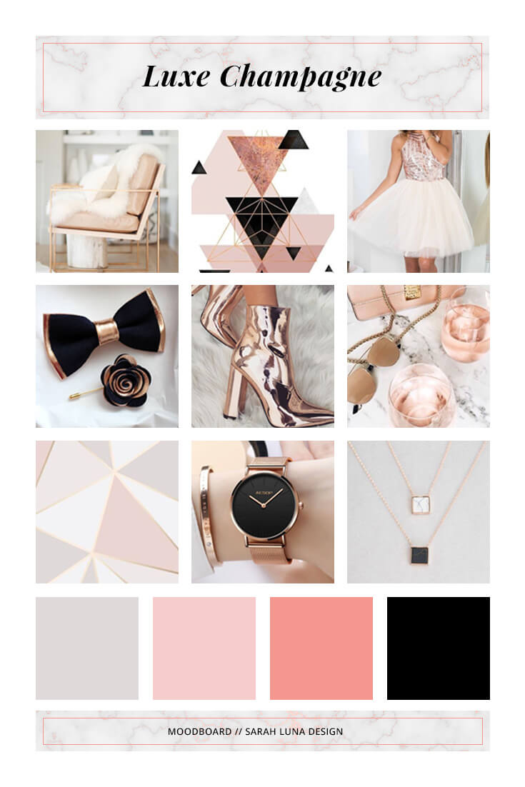"Design Inspiration for my ""Luxe Champagne"" branded web kit. This board features visuals that are soft, feminine, and bold. Blush, Nude, Champagne, Rose Gold, Gray, and Black. // by Sarah Luna Design"