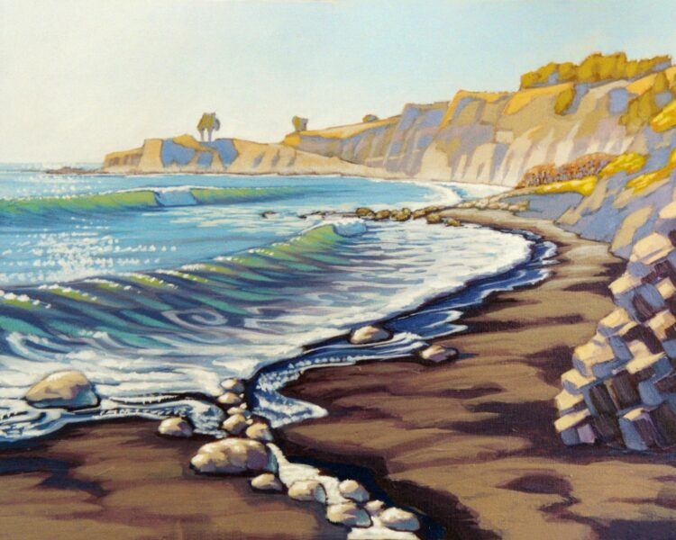 A plein air painting of the beach near Shelter Cove on the Humboldt county coast of northern California