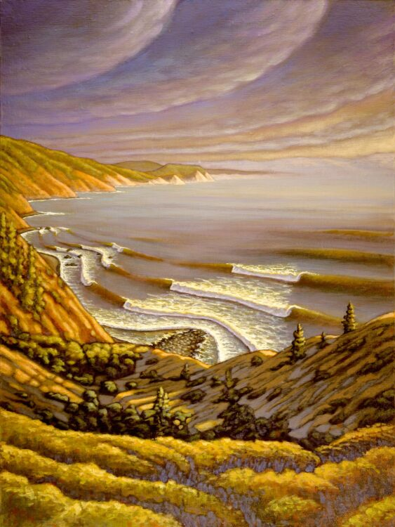 A landscape painting of the Lost Coast near Shelter Cove on the Humboldt county coast of northern California