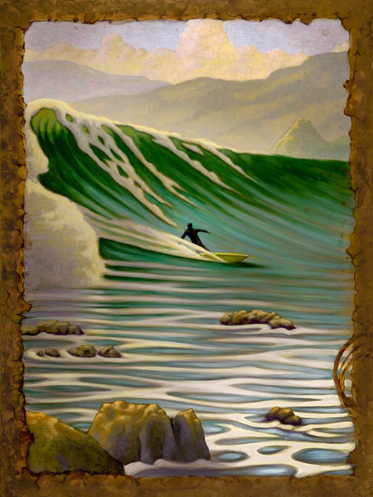 A painting of a surfer on a big wave at Patrick's point on the Humboldt county coast of northern California