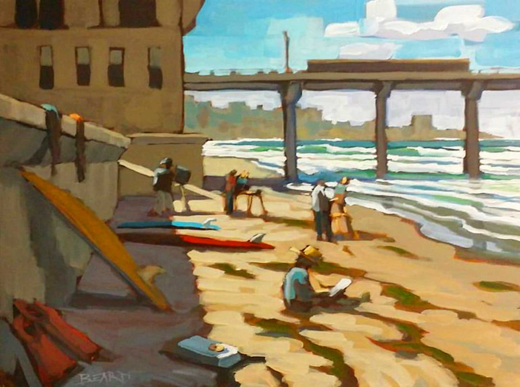 Plein air painting of artists and surfboards on the beach at Scripps pier in La Jolla on the San Diego coast of southern California.