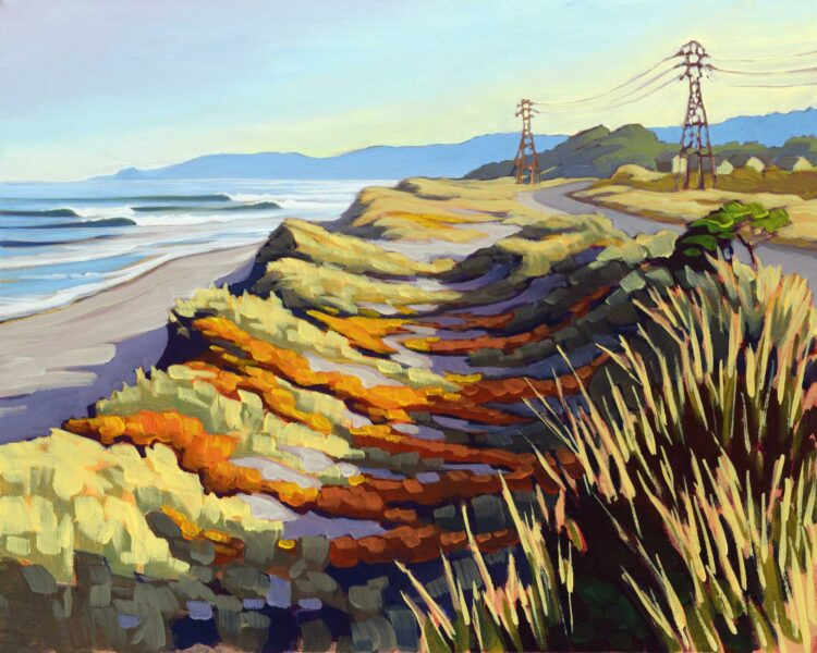 Plein air artwork of the Samoa Dunes on the Humboldt Coast of Northern California