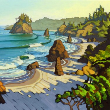 Plein air artwork of Trinidad State Beach on the Humboldt coast of Northern California