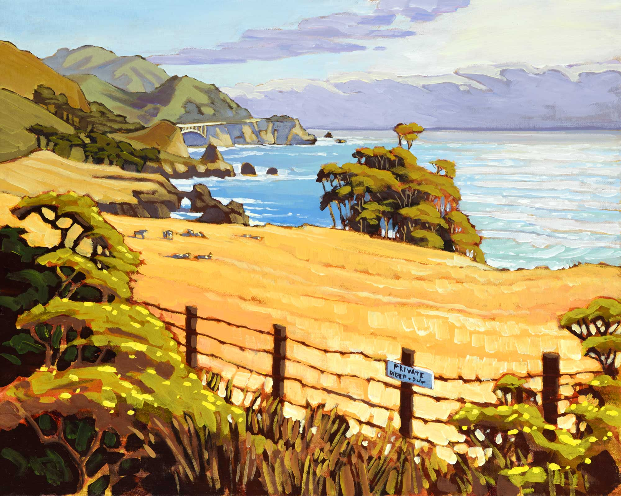 California coastal plein air artwork of Rocky Creek Bridge on the Big Sur coast of Montery county