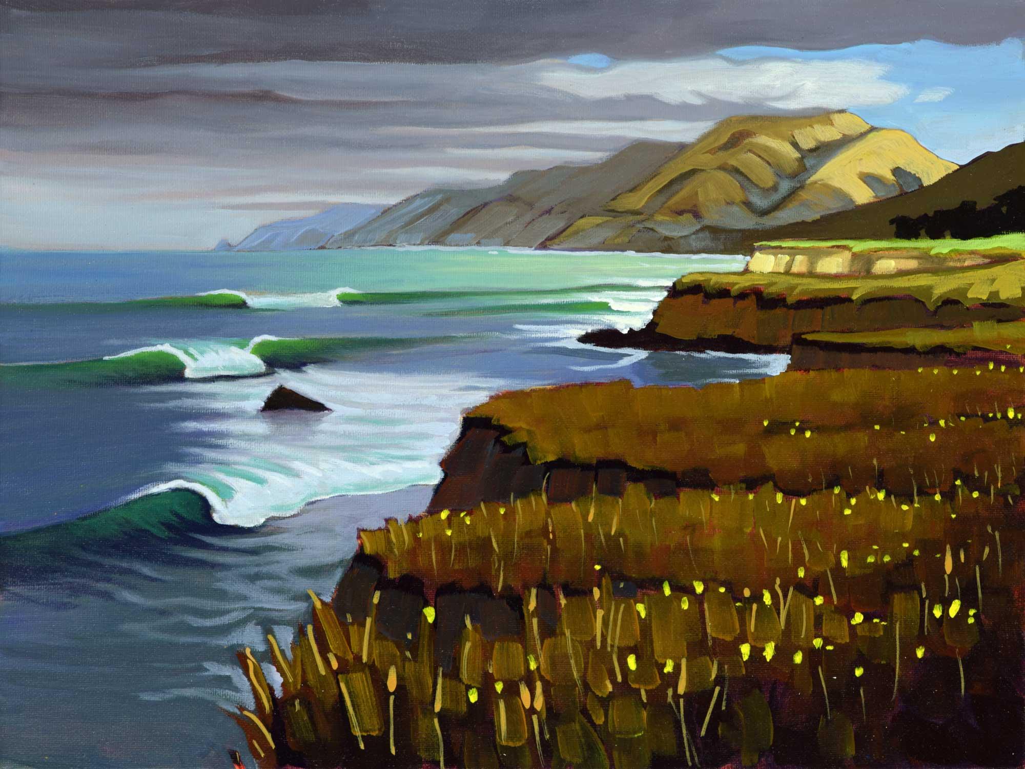 Plein air artwork from the San Luis Obispo county coast near Ragged Point in central California