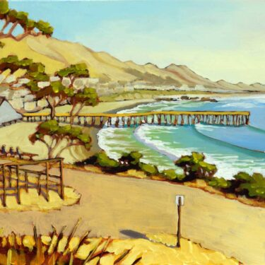 Plein air artwork of the Borradori Garage in Cayucos on the San Luis Obispo coast of central California
