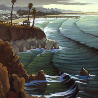 Plein air painting of the cliffs over Pismo Beach on the San Luis Obispo coast of California