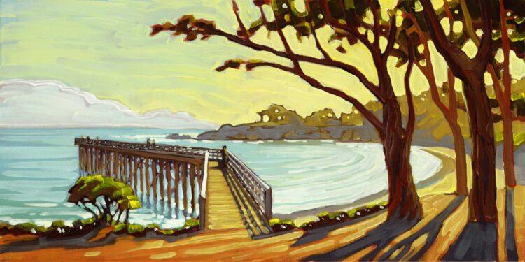Plein air painting of San Simeon Pier on the Central coast of California in San Luis Obispo county