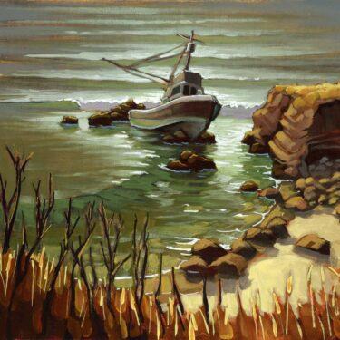 Plein air artwork of a shipwreck near Cayucos on the San Luis Obispo coast of Central California