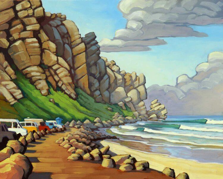 Plein air artwork from the beach at Morro Rock on the San Luis Obispo coast of Central California