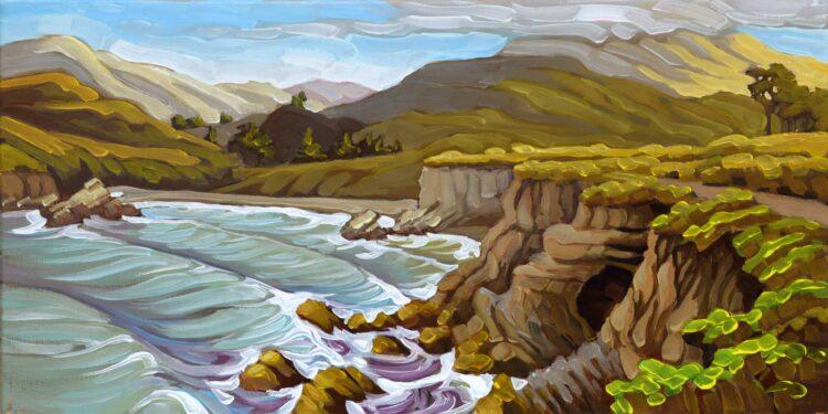 Plein air artwork from Spooner's cove in Montana De Oro State Park on the San Luis Obispo coast of Central California