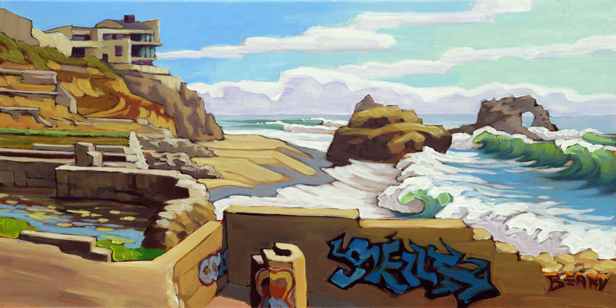 Plein air artwork of graffiti at the Sutro Baths cave at Ocean Beach on the San Francisco coast of California