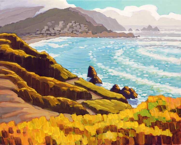Plein air artwork overlooking Pacifica Beach on the San Mateo County coast of California