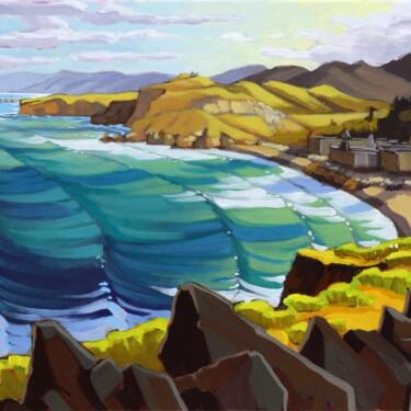 Plein air artwork overlooking Rockaway Beach on the San Mateo coast of California