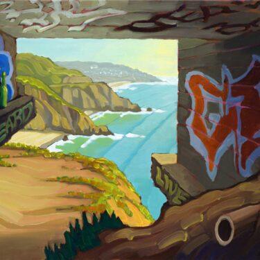 Plein air artwork from the Devil's slide bunker over Montara State Beach on the San Mateo coast of California