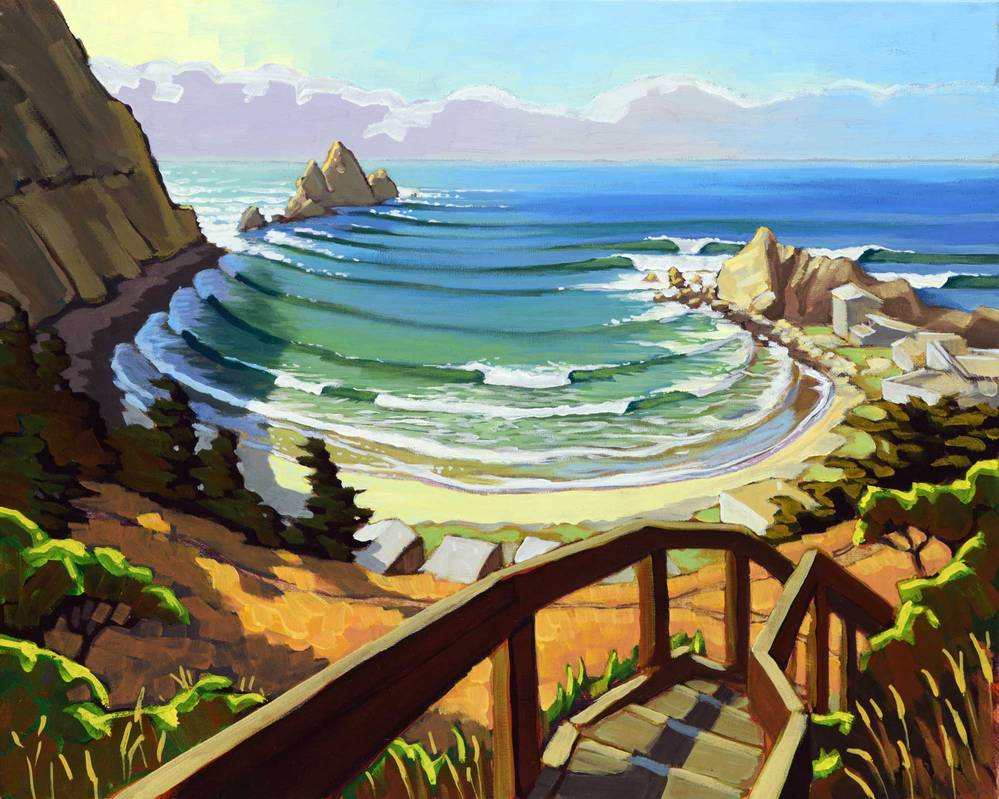Plein air artwork of the path to Shelter Cove near Pacifica on the San Mateo coast of California