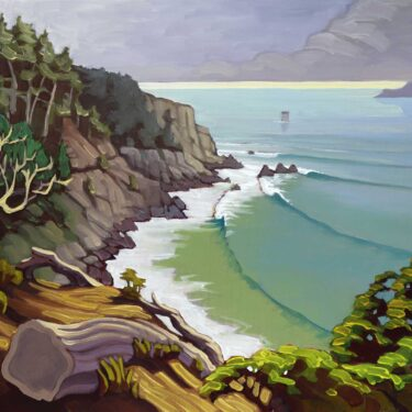 Plein air artwork from the bluff's over Dead Man's at Land's End in San Francisco California